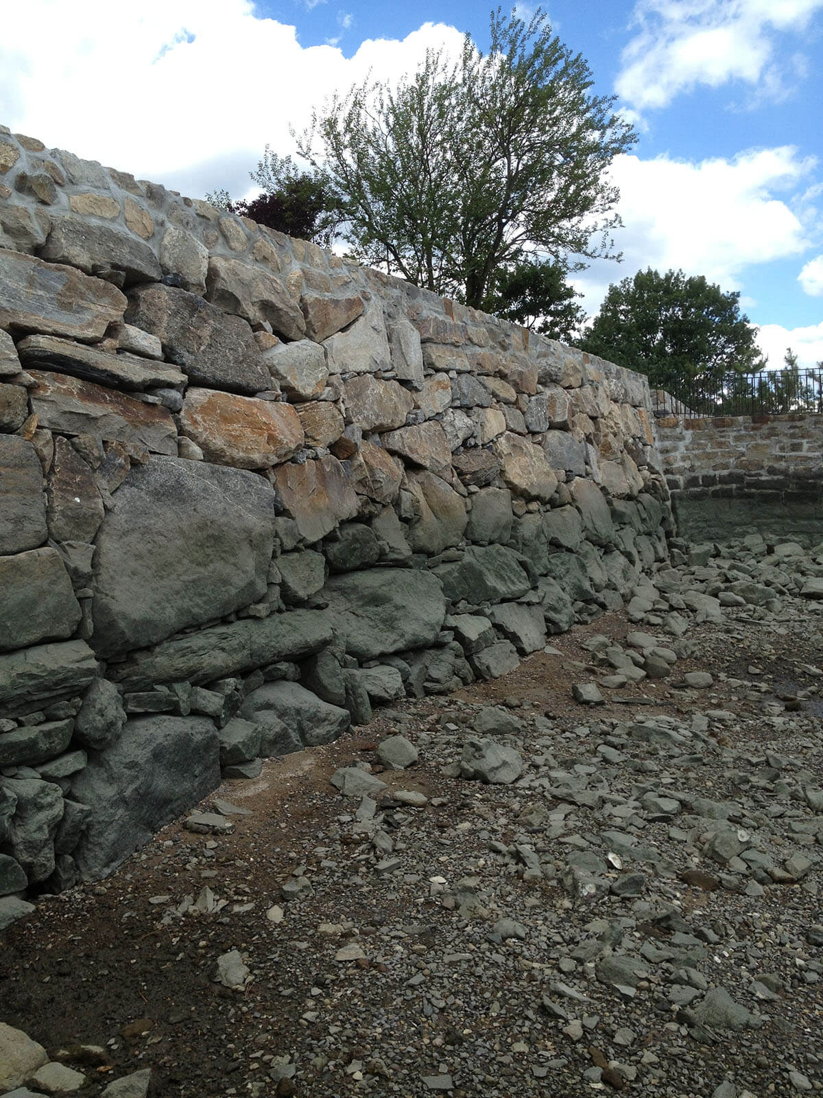 Large dry stacked stone Seawall