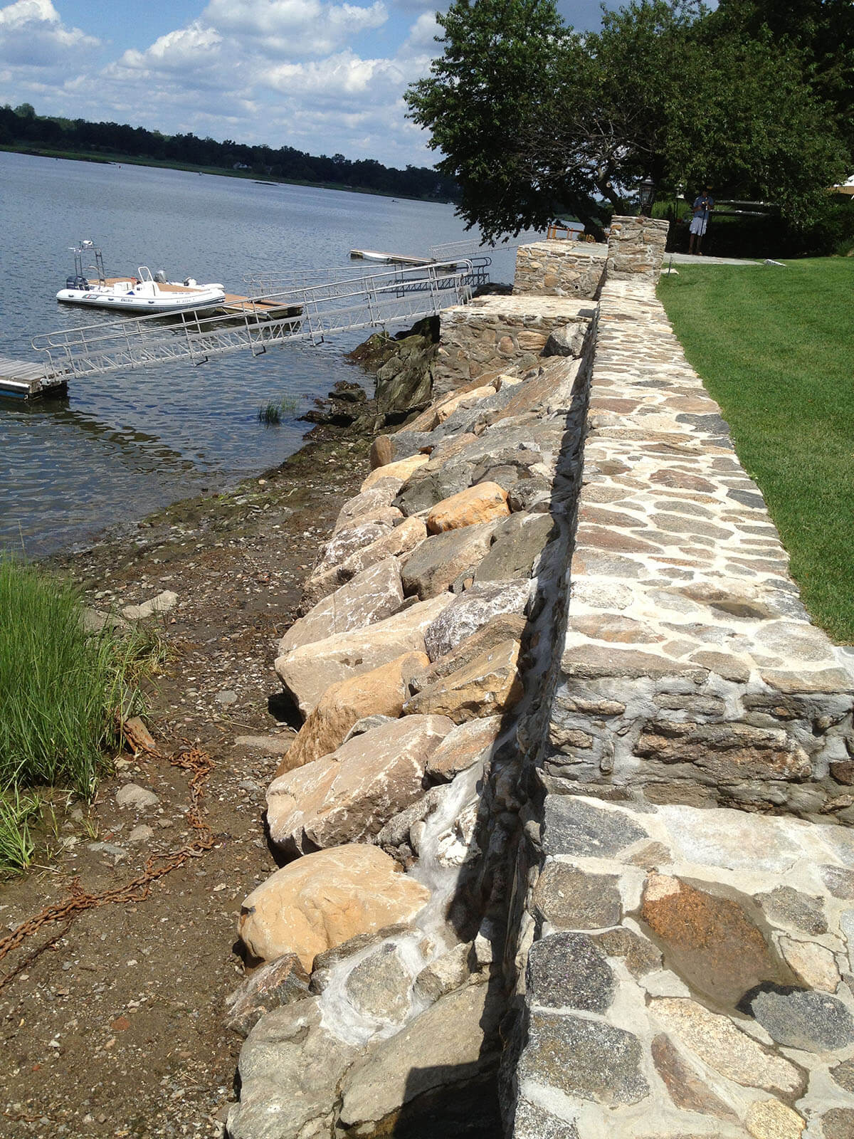 Mortared stone Seawall with rip rap protection