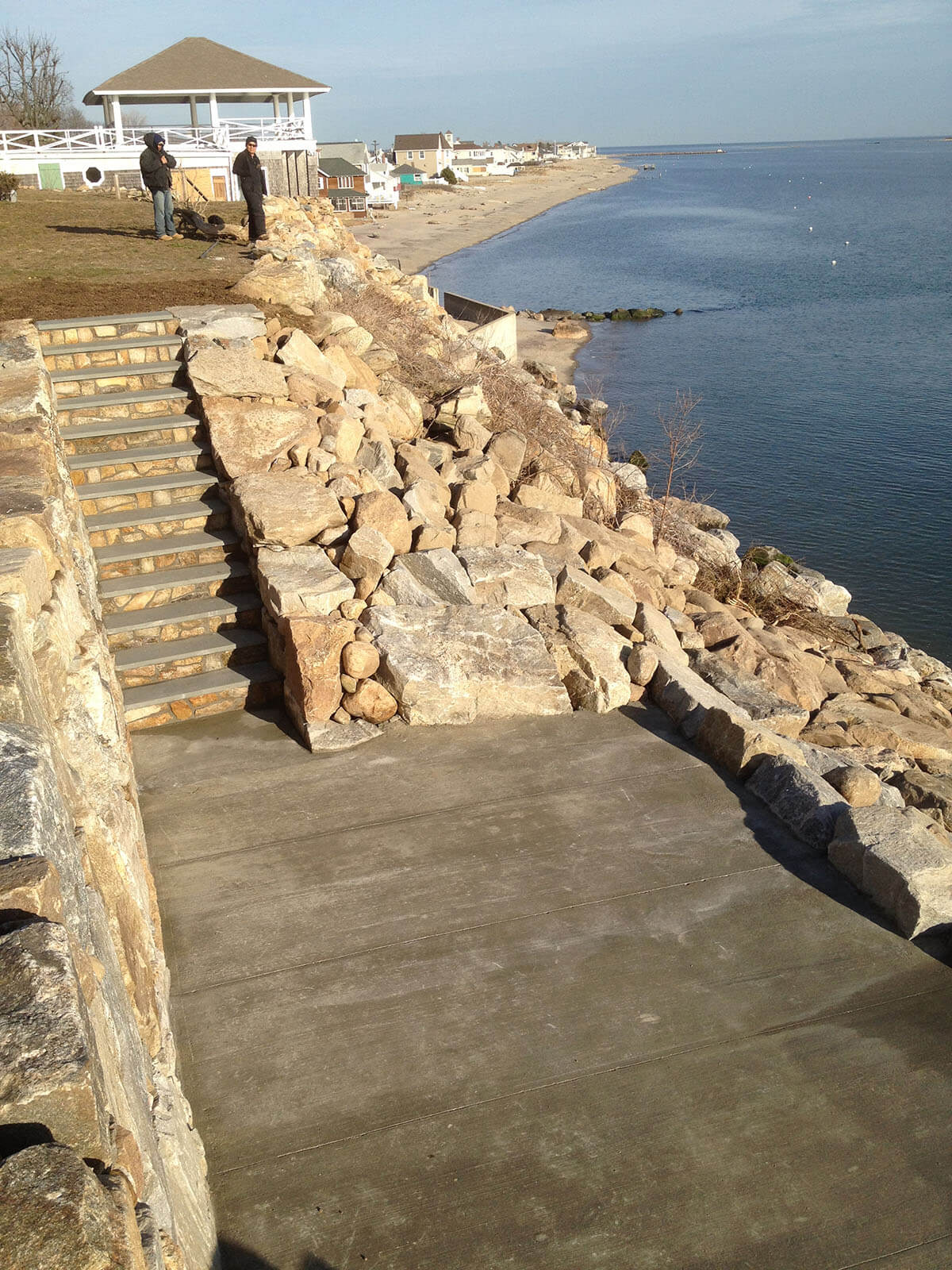Patio and stairs inset in revetment