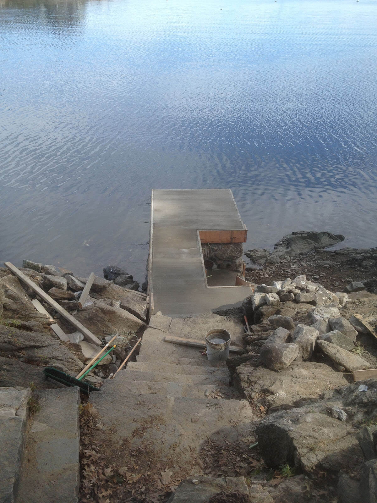 Stone pier finished concrete